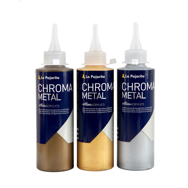 Pajarita chroma metal acryliques effet m tallis pour - Peinture acrylique effet metal ...
