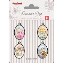 Set de 4 badges métal autocollants collection Summer Joy No. 1 de Scrapberry's