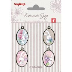 Set de 4 badges métal autocollants collection Summer Joy No. 4 de Scrapberry's