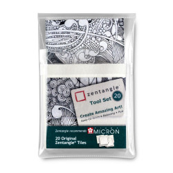 Set 20 cartes de Zentangle blanches (89x89 mm)