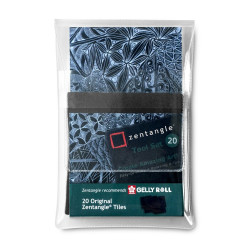 Set 20 cartes de Zentangle noires (89x89 mm)