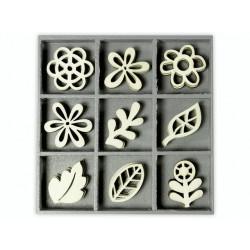 """Boîte bois ornement """"Fleur fantaisie"""" ( 45 pièces) de Knorr Prandell"""