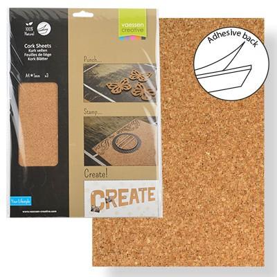 paquet de 3 feuilles de li ge adh sives naturel a4 de. Black Bedroom Furniture Sets. Home Design Ideas