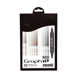 Set de 12 marqueurs Graph'It Mix grey colors