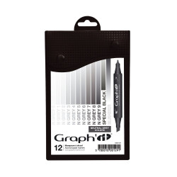 Set de 12 marqueurs Graph'It Neutral Greys colors