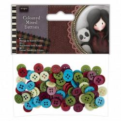 """Assortiments de 100 boutons colorés """"Santoro - Gorjuss' Santoro Tweed"""" de Docrafts"""