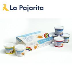Kit peinture à doigts lavable à l'eau de La Pajarita (6x100ml)