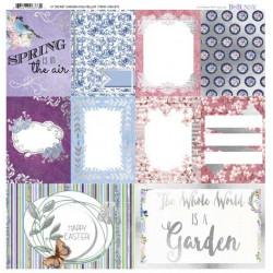 """Papier vellum """"Secret Garden"""" Motifs métallisés de Bo Bunny (30,5x30,5 cm)"""