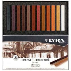 """Set de 12 Pastels secs Polycrayons Soft """"nuances de bruns"""" de LYRA"""