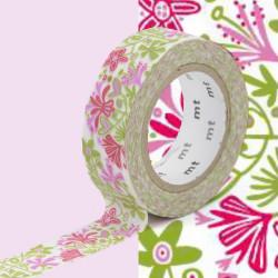 Masking Tape MT B&L Motif fleurs rose / alma pink (15 mm x 10 m)