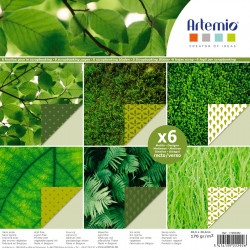"""Bloc de 6 feuilles photo recto verso 30x30 cm """"feuillage vert"""" d'Artemio"""