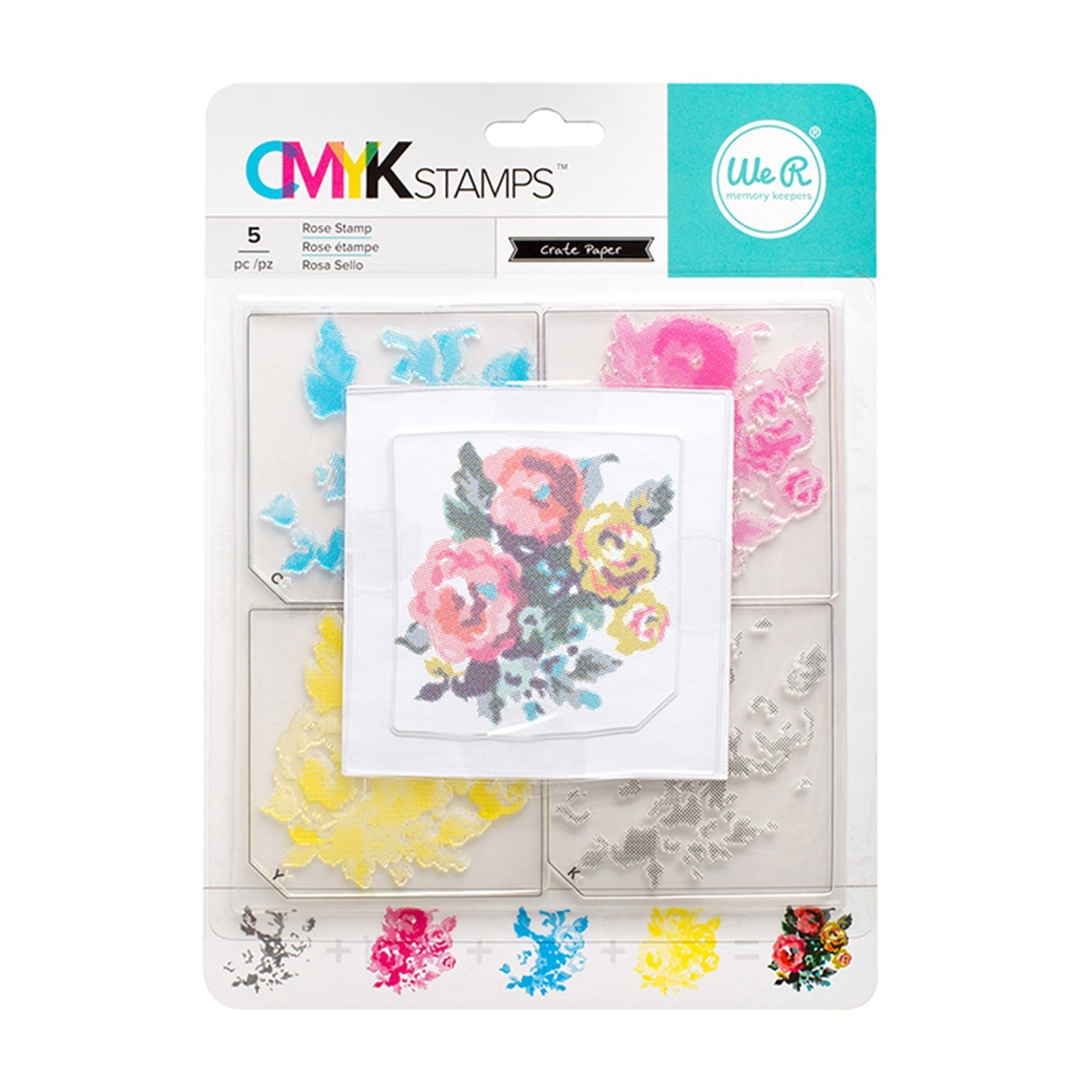 "Kit tampons transparents CMYK ""Rose"" de We R memory keepers"