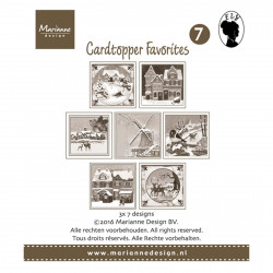 """Set de 21 cartes pré imprimées scrapbooking 8x8 cm """"cardtopper Els 2"""" de Marianne Design"""
