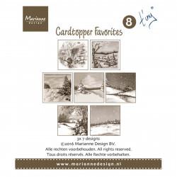 """Set de 21 cartes pré imprimées scrapbooking 8x8 cm """"cardtopper Tiny 2"""" de Marianne Design"""