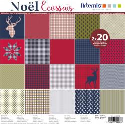 """Bloc de 40 feuilles de papier scrapbooking 30x30 cm """"Nöel Ecossais"""" d'Artemio"""
