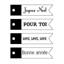Set de mini tampon transparent Banières Noël Planche 7 x 9 cm ARTEMIO