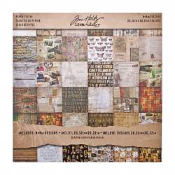 """Set Papier 36 feuilles recto-verso 20,32x20,32 """"mini stash"""" de Tim Holtz"""
