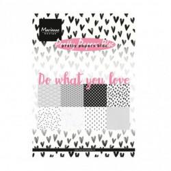 """Set de 32 feuilles de papier scrapbooking 21x15 cm """"do what you love"""" de Marianne Design"""