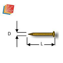Pointe tête bombée Diam. 1 mm Long. 8 mm en acier laitonné