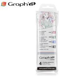 Pochette de 4 Fine liners couleurs de Graph'It