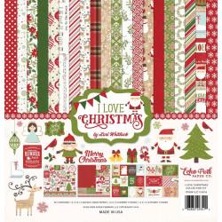 "Set Papier 30x30 ""I Love Christmas"" de Echo park paper"