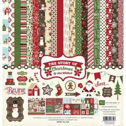 "Set Papier 30x30 ""The Story Of Christmas"" de Echo park paper"