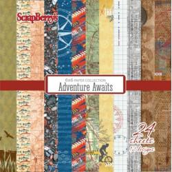 """Set de 24 feuilles de papier scrapbooking 15x15 cm """"Adventure Awaits"""" de Scrapberry's"""