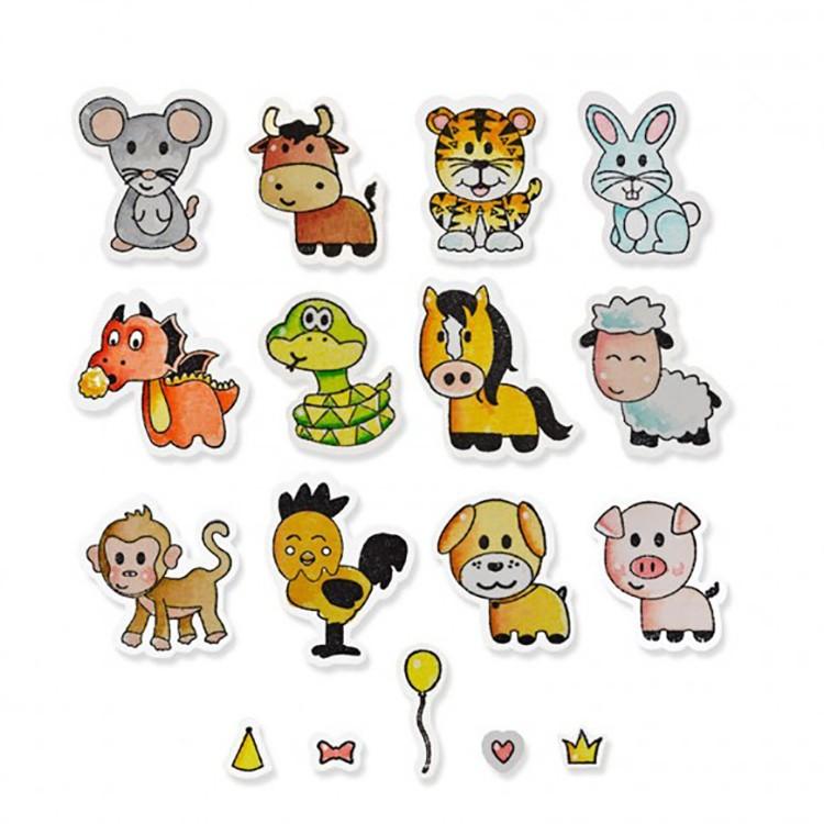 "Die Framelits et tampons ""zodiac animals"" de Sizzix"