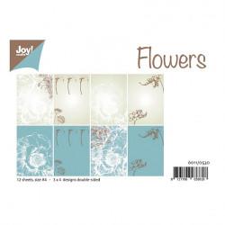 "Set de 12 feuilles recto verso A4 ""flowers"" de Joy!Crafts"