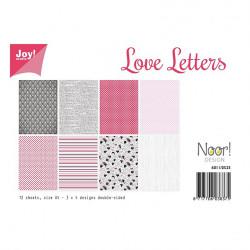 """Set de 12 feuilles recto verso A4 """"love letters"""" de Joy!Crafts"""