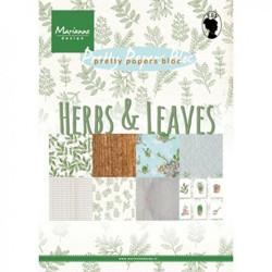 """Set de 32 feuilles de papier scrapbooking 21x15 cm """"herbs & leaves"""" de Marianne Design"""