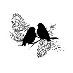 """Set de mini tampon transparent """"Misty Winter - oiseaux"""" Planche 7 x 9 cm ARTEMIO"""