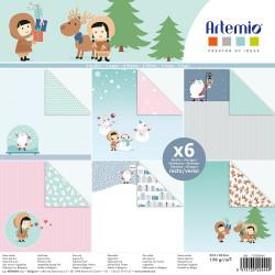 """Bloc de 6 feuilles recto verso 30x30 cm """"My Little Xmas"""" d'Artemio"""