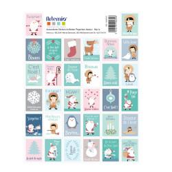 """Set de 64 timbres pré découpés autocollants """"My Little Xmas"""" d'Artemio"""
