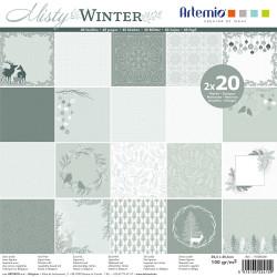 """Bloc de 40 feuilles de papier scrapbooking 30x30 cm """"Misty winter"""" d'Artemio"""