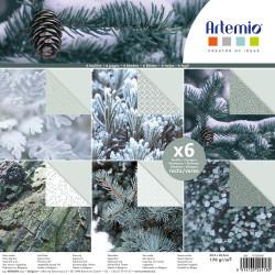 "Bloc de 6 feuilles recto verso 30x30 cm ""Misty Winter"" d'Artemio"