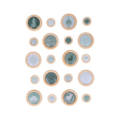 "Set de boutons bois 3D en époxy transparent ""Misty Winter"" d'Artemio"