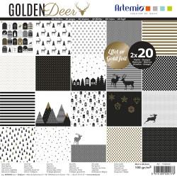 """Bloc de 40 feuilles de papier scrapbooking 30x30 cm """"Golden Deer"""" d'Artemio"""