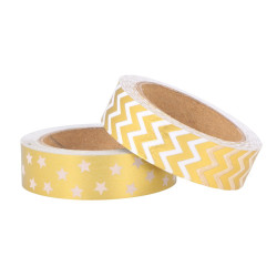 "Set de 2 rouleaux Masking Tape ""Golden Deer motifs"" d'Artemio ( 15mm x 5m)"