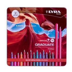 Boîte de 15 feutres LYRA Graduate Fineliner de Lyra (couleurs chaudes)
