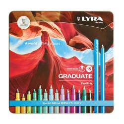 Boîte de 15 feutres LYRA Graduate Fineliner de Lyra (couleurs froides)