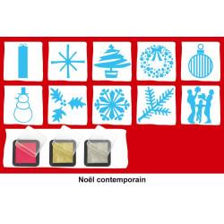 """Set de 10 tampons """"Noël Contemporain"""" + 3 encreurs : rouge, or et argent"""