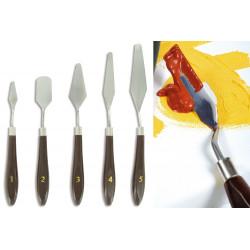 Set de 5 couteaux-spatules assortis, en bois et acier