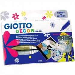 Giotto Decor Metal - Etui de 5 feutres