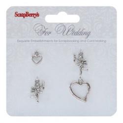 Metal Charms Set For Wedding de ScrapBerry's (4 pcs)