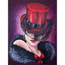 Femme chapeau rouge 30x40