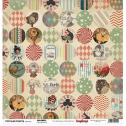 Papier scrapbooking Vintage Circus - Confetti de Scrapberry's en 30.5x30.5