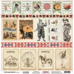 Papier scrapbooking Vintage Circus - Clownery de Scrapberry's en 30.5x30.5