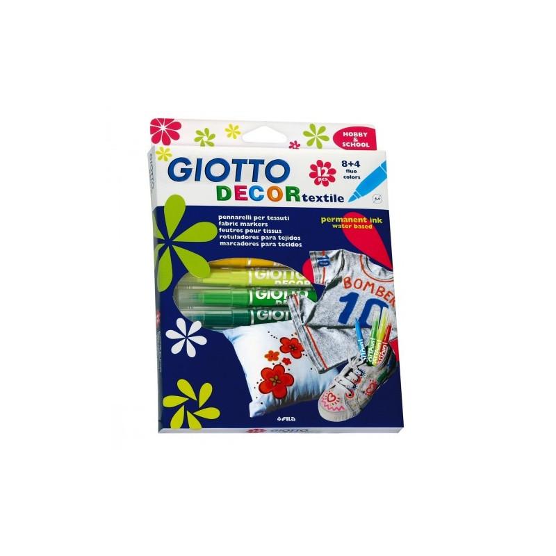 Giotto Decor Textile Etui De 12 Feutres Dont 4 Fluo