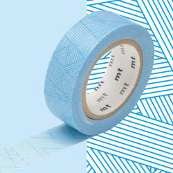 Masking Tape MT 1P motif trame messy cyan (15 mm x 10 m)